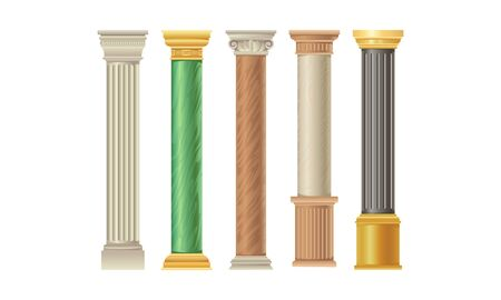 Five types of bright colorful columns of different material, shape and color. From marble and other materials. Flat vector illustration set, isolated, on white background. Vettoriali