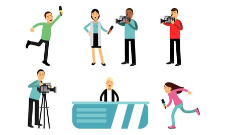 Filming news releases in the studio or from the event place. Cameraman with a professional camera. The presenter reports urgent news. People with microphones Ilustracja