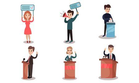 Les candidats en costume d'affaires présentent leur programme politique de derrière la tribune. Un homme tient une tablette avec un slogan de propagande. Femme avec une bannière d'agitation. Le gars vote