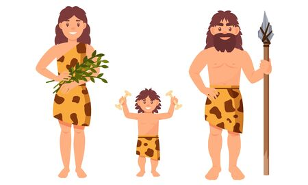 Cave people, Family With Prehistoric Attributes Vector Illustrations Isolated On White Background