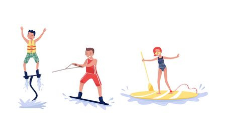 Set Of Different Kind Of Sport And Leisure Water Activity Vector Illustration