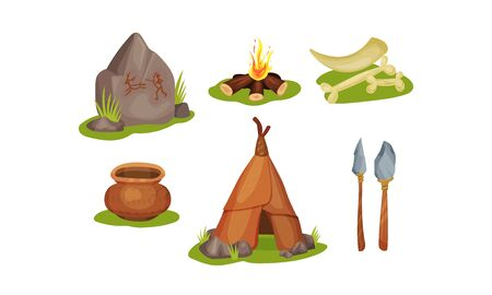 Elements Of The Routine Life Of Stone Age People Vector Illustrations Isolated On White Background