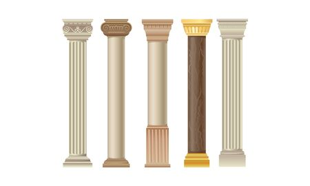 Set Of Various Types Of Different Columns Vector Illustration