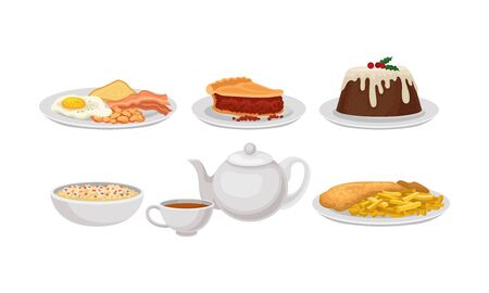 Different Dishes Of Authentic English Cuisine Vector Illustration Set Isolated On White Background Ilustração
