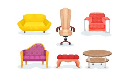 Set of different types of armchairs and two tables, for desig works. Classic and modern variants. Flat vector illusration, isolated, white background.
