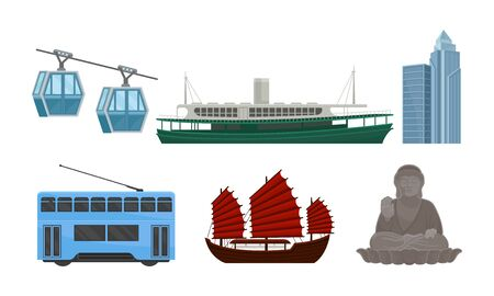 Attributes of Chinese culture. Modern and ancient Chinese ships. Cableway, double-decker tram, skyscraper, large bronze statue of Buddha Shakyamuni in Hong Kong