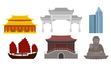 Modern and ancient traditional Chinese architecture and cultural heritage. Large bronze statue of Tian Tan Buddha in Hong Kong, arch, Forbidden City, skyscraper and antique ship