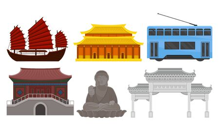 Attributes of modern city of China and symbols of ancient cultural heritage and religion. Arch, double-decker tram, Forbidden City, antique ship and large bronze statue of Buddha in Hong Kong