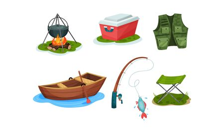 Fishing equipment and outdoor activities elements. Bonfire with a cauldron with food, portable refrigerator, special vest, fishing rod with caught fish, wooden boat with oars, folding camping chair