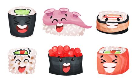 Sushi and Sashimi Vector Set. Traditional Japanese Food Collection. Comic Sushi Concept Vettoriali