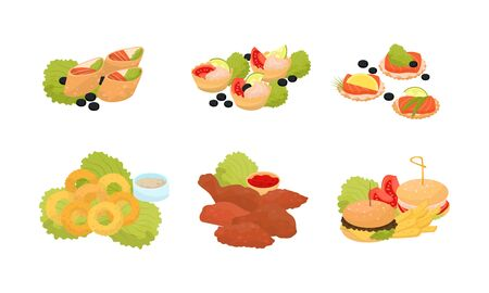 Set of various canape, snacks and appetizers for catering, banquet or party. Fish, meat, chicken, hamburger, vegetagles. Vector illustration, isolated on white background.