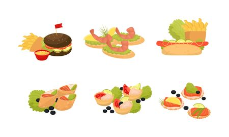 Catering canapes, snacks and appetizers on banquet or party. Hamburger, sandwich with shrimps, hotdog, sushi, tartles with sauce, crackers with salmon. Vector illustration, isolated, white background.