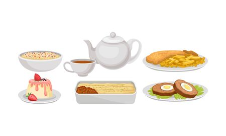 Dishes of traditional English cuisine. Oatmeal in a bowl, a teapot and tea in a mug, fish and chips, creamy pudding with strawberries, Cornish pasty, beef steak with fried eggs Illustration