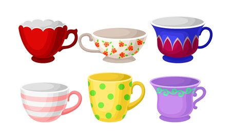 Set of bright colorful tea or coffee cups with different patterns and design. Flat vector Illustration, isolated on white background, cartoon character. Ilustrace