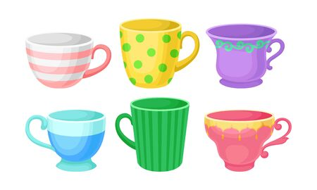 Six multicolored cups for tea or coffee of different patterns and design. Flat vector Illustration, isolated on white background, cartoon character.