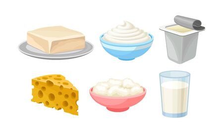 Different dairy products in plates and packages. A head of cheese with large holes, a glass of milk, butter on a plate, cottage cheese in a pink bowl, sour cream in a blue bowl, yogurt
