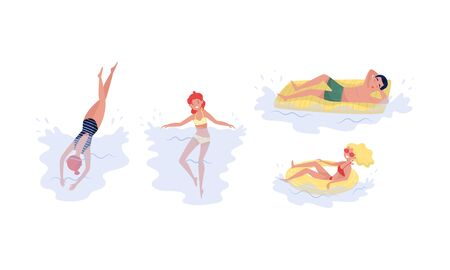 Set with people having fun from summer rest and water activity. Young people, men and women, swimming in different style, with lifebuoys and mattresses. Vector illustration, isolated white background.
