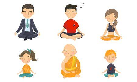 Caratteri della gente che si siedono nella posa di yoga e che fanno insieme di vettore di meditazione. Concetto di posa di rilassamento