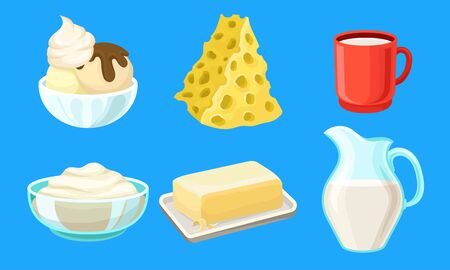 Dairy Produce Vector Set. Made of Milk Different Products Collection. Farm Goods Concept Stock fotó - 133595494