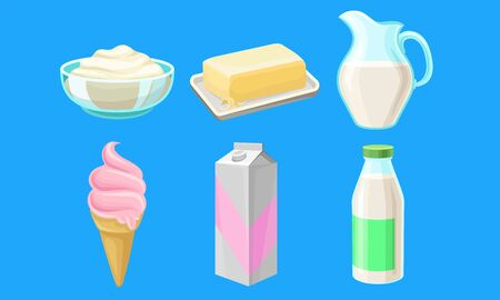 Dairy Produce Vector Set. Made of Milk Different Products Collection. Farm Goods Concept