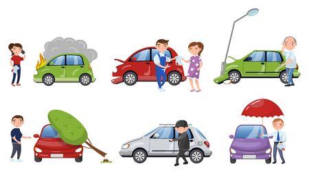 Persone che soffrono di diverse illustrazioni vettoriali di incidenti stradali. Albero che cade dal veicolo, caso di infiammazione e incidenti di rapina. Concetto di assicurazione auto