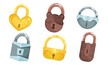 Ancient Hanging Locks Vector Set. Flat Antique Padlocks Collection. Iron Security Symbol