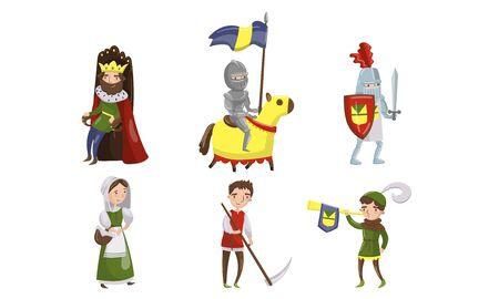 Illustrations vectorielles de personnages de personnages médiévaux. Collection de la période historique du Moyen Âge. Concept de résidents du royaume