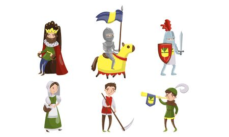 Medieval People Characters Vector Illustrations. Middle Age Historic Period Collection. Kingdom Residents Concept