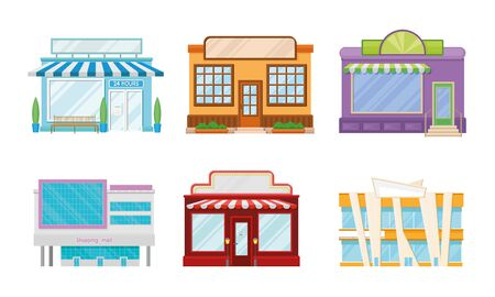 Shop Windows and Shopping Mall Buildings Vector Set. Commercial Architecture Collection Ilustracja
