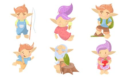 Cute Troll Characters Vector Set. Funny Creatures With Colored Hair Collection. Mythical Cheerful Creatures