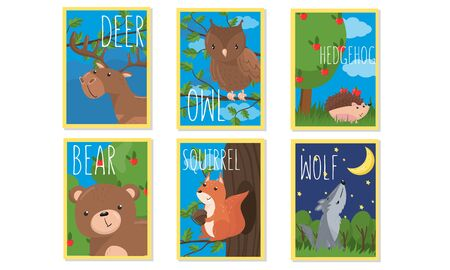 Colorful Animal Cards With Their Names on It For Kids Vector Set. Kids Vocabulary Collection