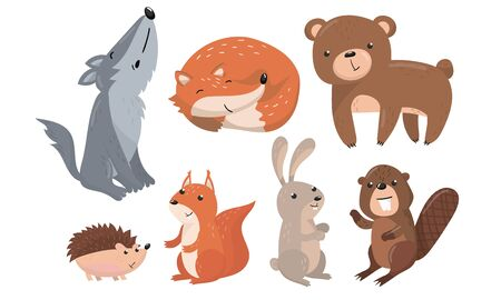 Cute Forest Animals Vector Set. Funny Baby Illustrated Collection. Wild Fauna For Kids Book