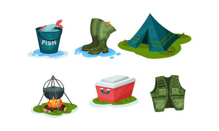 Fishing equipment and outdoor activities elements. Caught fish in a bucket, fishing rubber boots, tent, bonfire with a cauldron with food, portable refrigerator, special vest with pockets Illusztráció