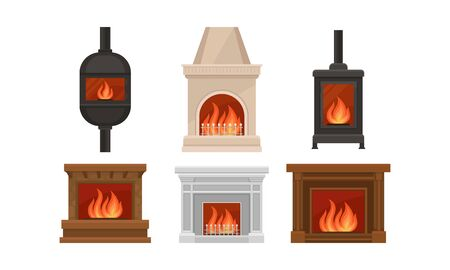 Set of fireplaces with different shapes, design and colors. Metal, stone, bricks, marble. Vector illustration, isolated on white background.