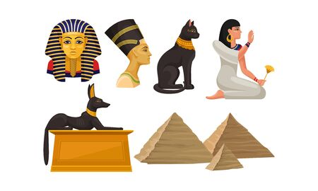 Ancient Egyptian architecture and culture. God Anubis represented as a jackal, goddess Bastet depicted as a sacred animal cat, sarcophagus of the pharaoh, tombs pyramids, Nefertiti Illustration