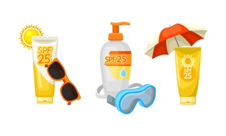 Sun protection waterproof lotions and creams in plastic orange and white tubes and bottles with spf 25 for face and body. Sunglasses, sun, diving mask, beach umbrella Illusztráció