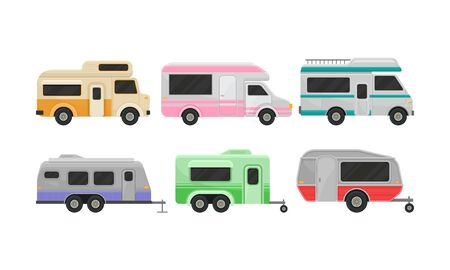 Different kind of classic camper vans and trailers. Recreational vehicles, home on wheels. Comfort cars for whole family. Vector illustration set, isolated on white background.