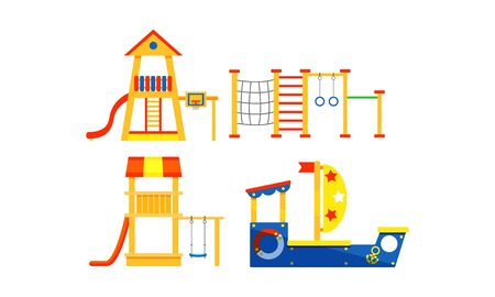 Equipment of children playground of different types set in city parks and other places. Various of slides, rope houses and boat. Flat vector illusration, isolated, on white background.