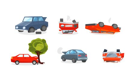 Insurance cases with wrecked vehicles in different ways. A broken wheel, an automobile crashed into a tree, an upturned car, the engine smoked