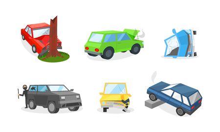 Danni auto e casi assicurativi su strada. Il motore si è surriscaldato, una berlina rossa si è schiantata contro un albero, un paraurti rotto, un ladro ha rotto il finestrino di un veicolo, l'auto si è ribaltata su un lato o è finita contro un marciapiede Vettoriali