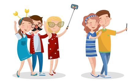 Young People Making Selfie Portrait with Smartphone Vector Set