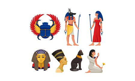 Symbols, Elements, Attributes And Sacred Animals Of Ancient Egyptian Culture Vector Illustration Set Isolated On White Background