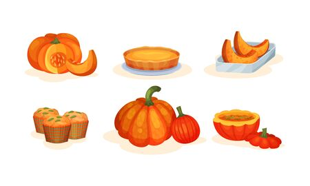 Autumn Seasonal Sweet Pumpkin Dishes Vector Illustration Set Isolated On White Background
