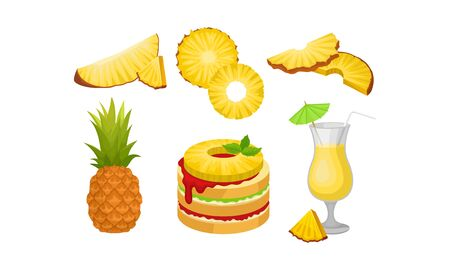 Different Exotic Desserts And Drinks From Pineapple Vector Illustration Set Isolated On White Background