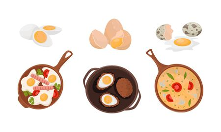 Differently Cooked Eggs And Various Dishes Vector Illustration Set Isolated On White Background Illustration