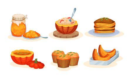 Delicious Seasonal Baked Or Boiled Pumpkin Dishes Vector Illustration Set Isolated On White Background Ilustração