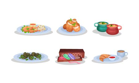 Different Dishes Of Authentic French Cuisine Vector Illustration Set Isolated On White Background Illustration