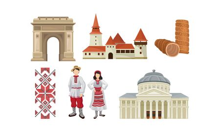 National Food, Architecture And Culture Of Romania Vector Illustration Set Isolated On White Background