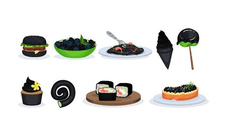 Big Set With Snacks And Meals With Components Of Black Color Vector Illustration