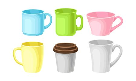 Bright Colorful Tea And Coffee Cups Of Different Design Vector Illustration Set